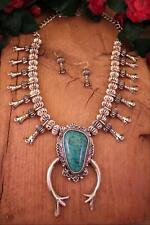 """South Western Squash Blossom Turquoise Necklace - 24"""" Long Necklace - Tribal"""