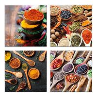 Quadri spezie cucina 4 Pezzi Stampa su Tela con Telaio in Legno Arredamento arte