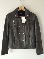 J BRAND Valo Lamb Leather Biker Jacket - Silver - Small - RRP £1200 - New