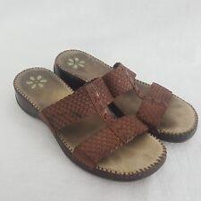 Dr Scholls Brown Leather Slip On Sandal Shoes Women's 8 Gel Pac