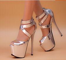Women 16CM Peep Toe Super High Heel Stiletto Platform Sandal Club Strap Shoes UK