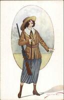 Bonova - Beautiful Woman Hunting Gun Outfit c1910 Postcard