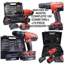 18v CORDLESS LITHIUM COMBI DRILL MAKTEC BY MAKITA COMPLETE KIT +70 + ACCESSORIES