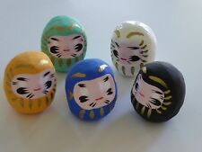 "Set of 5 Daruma 2"" Wish-making Good Luck Doll/Yellow, Blue, White, Black, Green"