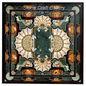 "36"" Marble center Table Top semi precious stones Inlay"