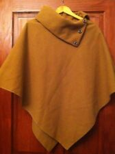 Womens Poncho One Size High Neck Camel Colour Roll Button Neck (B14)