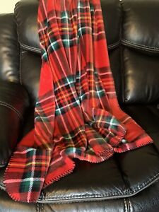 VICTORIAS SECRET PINK SOFT COZY THROW BLANKET PLAID RED BLACK FRIDAY 2019 50x60
