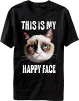 GRUMPY CAT THIS IS MY HAPPY FACE YOUTUBE INTERNET SENSATION T SHIRT S M L XL 2XL