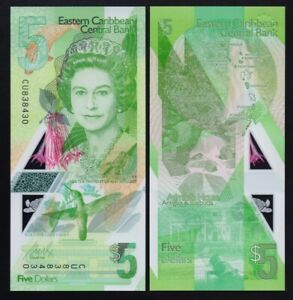 EAST CARIBBEAN - P#New 1 x 5 East Caribbean Dollar (2021) Uncirculated Banknote.