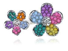 Adorable lindo Rhinestone claro dos cuentas de pétalos de flores Anillo Chic Brillante Fiesta Regalo