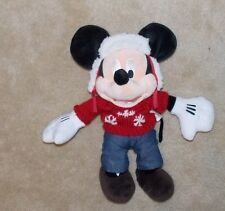 Disney Store Mickey Mouse C 00004000 ozy Cables Red Snowflake Winter Hat Plush Stuffed