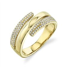 Women Round Right Hand Statement Cocktail Swirl Diamond Ring 14K Yellow Gold