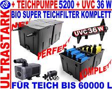 TEICH 60000 L ! ULTRASET 36 W TEICHFILTER+ECO TEICHPUMPE 5200+UVC 36 KOMPLETT
