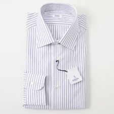 NWT $350 BARBA NAPOLI White and Navy Stripe Woven Cotton Dress Shirt 16 x 36