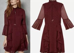 Ted Baker Haleat Dobby Ruffle Fil-Coupé Dress Size 2 & Size 4