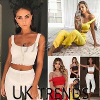 UK Womens 2 Piece Crop Top Knit Jumpsuits Ladies Co ords set Playsuit Culottes