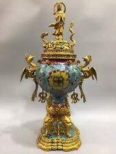 "23.6"" Chinese Antique Cloisonne handmade Phoenix Guanyin incense burner"