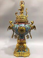 "24"" Chinese Antique Cloisonne handmade Phoenix Guanyin incense burner"