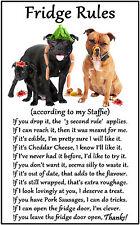 """Staffordshire Bull Terrier Gift - Large Fridge Rules flexible Magnet 6"""" x 4"""""""