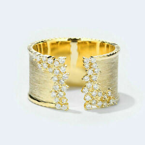 Fashion 18k Gold Plated Rings for Women White Sapphire Wedding Ring Jewelry Gift