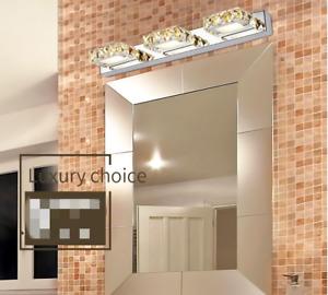 3 Lights Crystal Vanity Lights Modern LED for Bathroom (White Light)  room