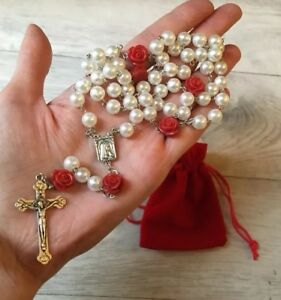 Pretty Rosary With Rose Our Father Beads (Ideal Valentine Gift)