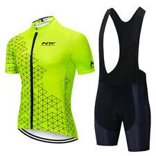 Summer Men Cycling Outfits Short Sleeve Bike Jersey Bib Shorts Set Sport Uniform