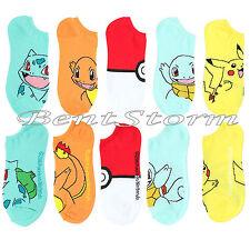 Pokemon BIG FACE No-Show Socks 5 Pair PK Pikachu Charmander Squirtle Bulbasaur