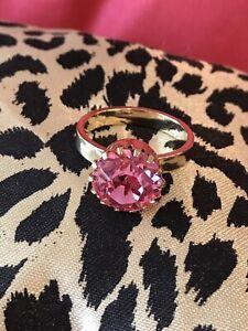 Tarina Tarantino Vintage Stackable Gold Pink Swarovski Crystal Solitaire Ring 8