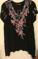 Johnny Was Sz SM~M Black Cupra Rayon🌺Floral🌸 Embroidery S/S Tunic Top NWT