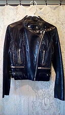 EUC!! BEBE BLACK SHINY ALLIGATOR PRINT LEATHER MOTO BIKER MOTORCYCLE JACKET M