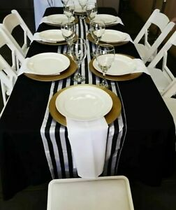 Satin Table Runner Monochrome Black and White Stripe Wedding Birthday Decor UK