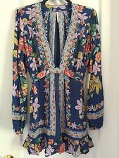 NWT Free People Violet Hill Floral Print Tunic Top/Mini Dress In Blue Combo Sz 6