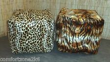 Zippy Velvet Fur Beanbag Footstool Bean Bag Cube Foot Stool Leopard Tiger Wash