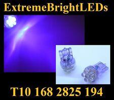 TWO UV Purple T10 2825 168 6-LED License Plate Lights Bulbs #54F
