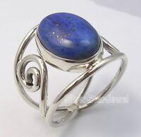 925 Pure Silver LAPIS LAZULI SEMI PRECIOUS GEMSTONE ART Ring Any Size BRAND NEW