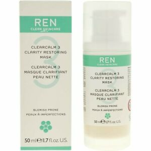 REN Skincare Clearcalm 3 Clarity Restoring mask 50ml Pump Bottle NEW UK Seller