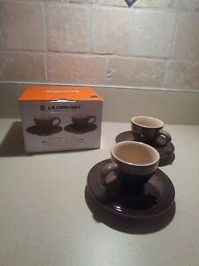 Le Creuset Stoneware Set of 2 Espresso Cups and Saucers, (Black/Brown) NEW