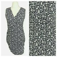 Boden Blue Spotted Floral Smart Work Stretch Pencil Dress Size 14 Petite