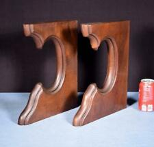 """*Pair of 14"""" tall French Antique Solid Walnut Wood Corbels/Brackets Salvage"""