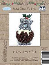 DMC Me to You Christmas Tatty Teddy Cross Stitch Mini Kit - I Love Xmas Pud