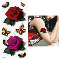 Tatuaggio tattoo temporaneo lavabile Rose Farfalle body art rimovibile adesivo