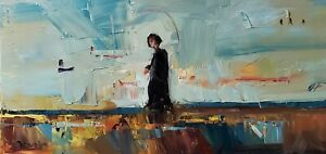JOSE TRUJILLO Oil Painting IMPRESSIONISM 12X24 LANDSCAPE FIGURE MODERN ARTWORK