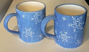 Sonoma BUTTON UP SNOWFLAKE 12 oz. Mug Blue White Snowflakes Embossed Christmas