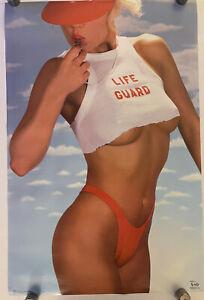 Life Guard Original Vintage Poster 22x30 Sexy Woman Bikini Babe Headshop 1987