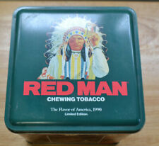 VINTAGE RED MAN TOBACCO TIN MAN CAVE COLLECTOR 1990
