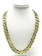 "Chain Link Necklace 22"" 11.5mm 61 grams Men's 14k Yellow Gold Solid Flat Cuban"