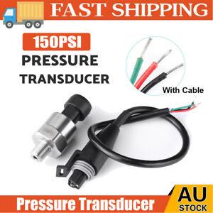 150PSI Pressure Transducer Sender Sensor Oil Fuel Air Water Stainless Steel AU