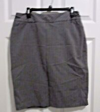 Pencil Skirt sz 12 career Charcoal gray pinstripe chain accent Worthington lined