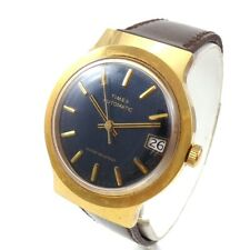 Vintage Timex Automatic Mens Blue Face Watch QYE6
